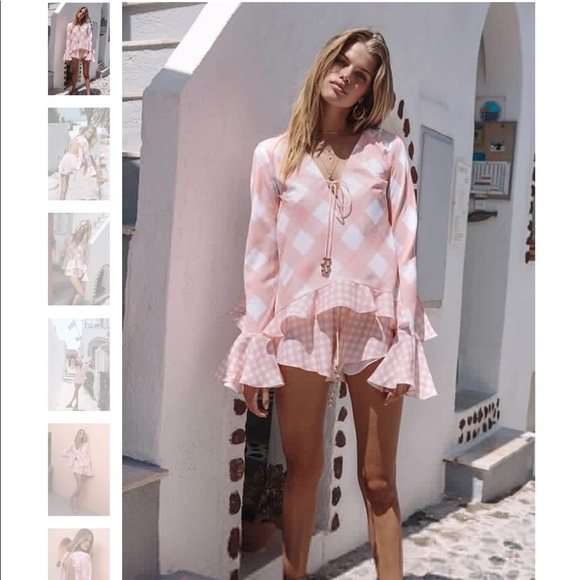 59be4a8eb3d Sabo Gingham Playsuit as seen on NYFW
